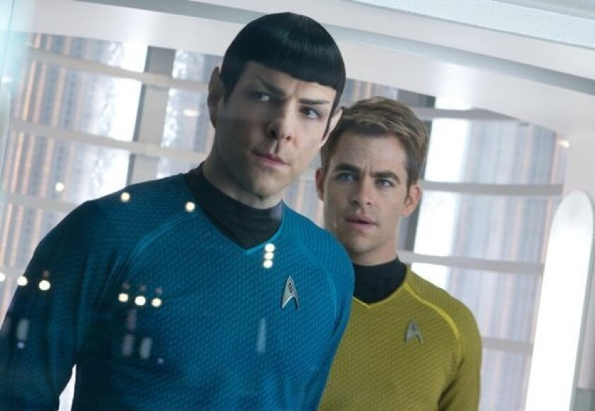 """Zachary Quinto, left, and Chris Pine in """"Star Trek Into Darkness,"""" which is expected to be No. 1 at the box office this weekend."""