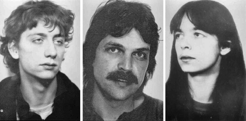 Undated photos provided by German federal police show from left, Burkhard Garweg, Ernst-Volker Staub and Daniela Klette, who are linked to a terrorist group and suspected in a string of robberies in Germany.