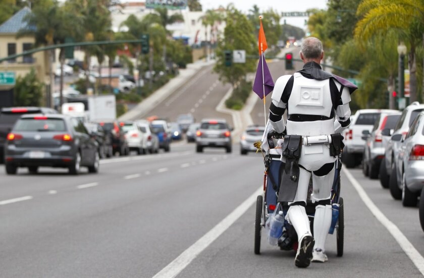 While on his way to go to his first Comic-Con, Kevin Doyle, heads into downtown Encinitas on Highway 101.