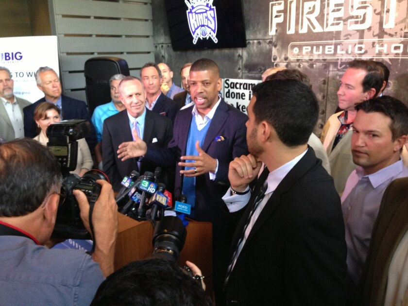 Sacramento Mayor Kevin Johnson, a former NBA star himself, speaks to the press on Monday after an NBA committee recommended against the Kings moving to Seattle.