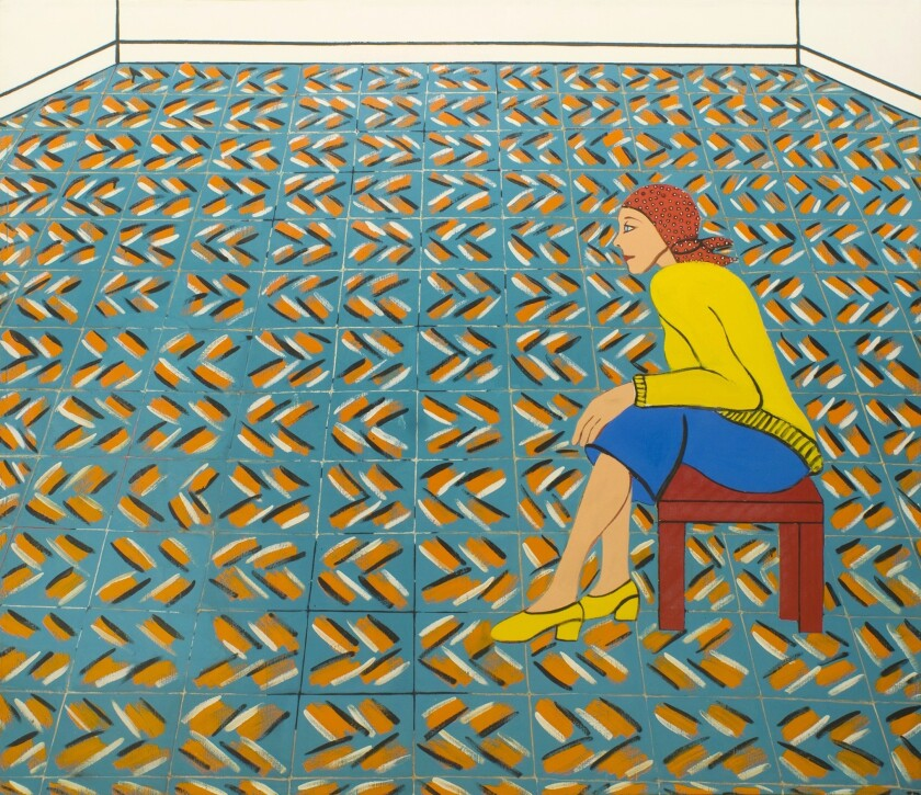 """Detail of """"Woman Waiting in a Theatre Lobby"""" by Joan Brown on view at George Adams Gallery at CB1-G in Los Angeles."""