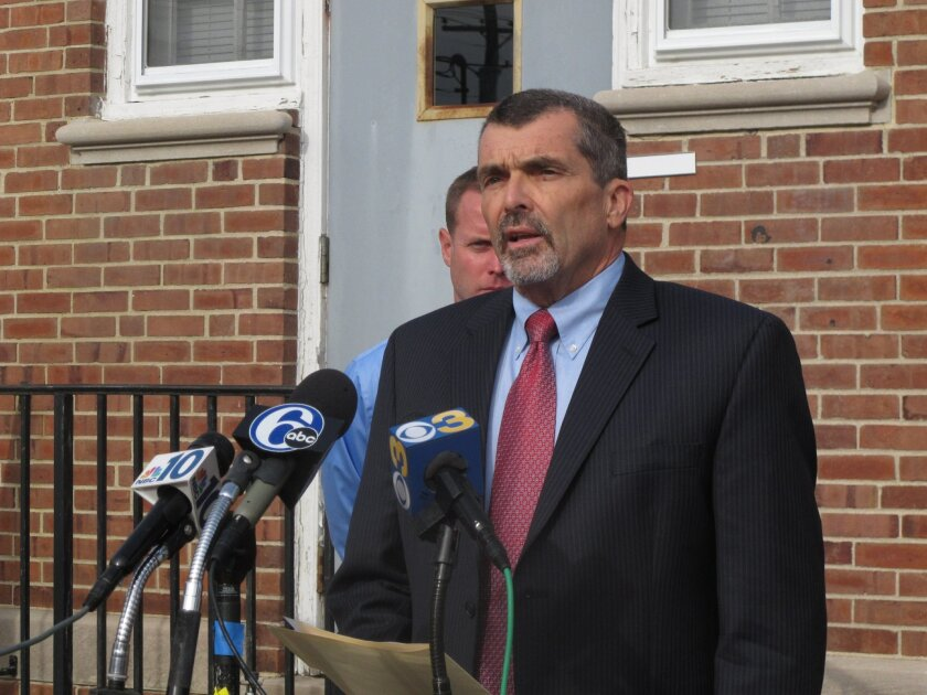Lawyer John Jordan gives a statement on behalf of the father and siblings of Paul Ciancia on Monday, Nov. 4, 2013, in Pennsville, N.J. Ciancia is accused of opening fire at Los Angeles International Airport on Nov. 1, killing a Transportation Security Administration officer. (AP Photo/Geoff Mulvihi