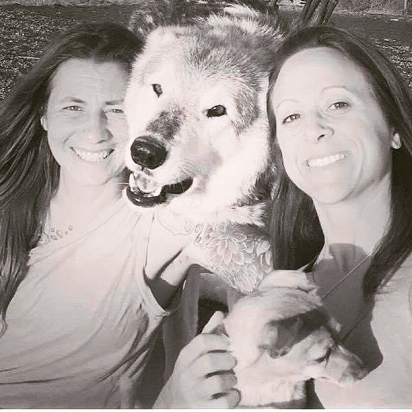 """Lauren Freiser, left, and Lori DeProspo, right, with their wolf/malamute hybrid """"Wolfie"""" at the King Wolf Animal Sanctuary in Ramona."""