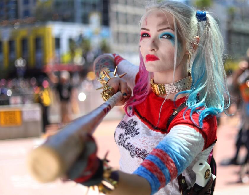 Alysia Olson of Sacramento dressed as Harley Quinn at Comic Con International.