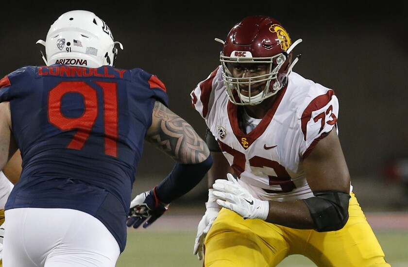 Many project USC left tackle Austin Jackson (73) to be a first-round draft pick.