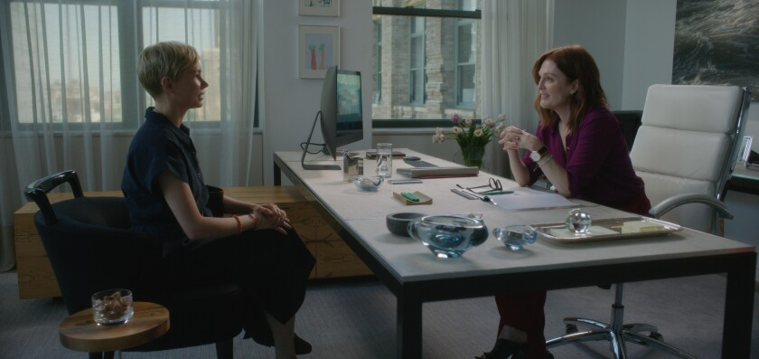 Michelle Williams as Isabel and Julianne Moore as Theresa Young in a scene from 'After the Wedding.'