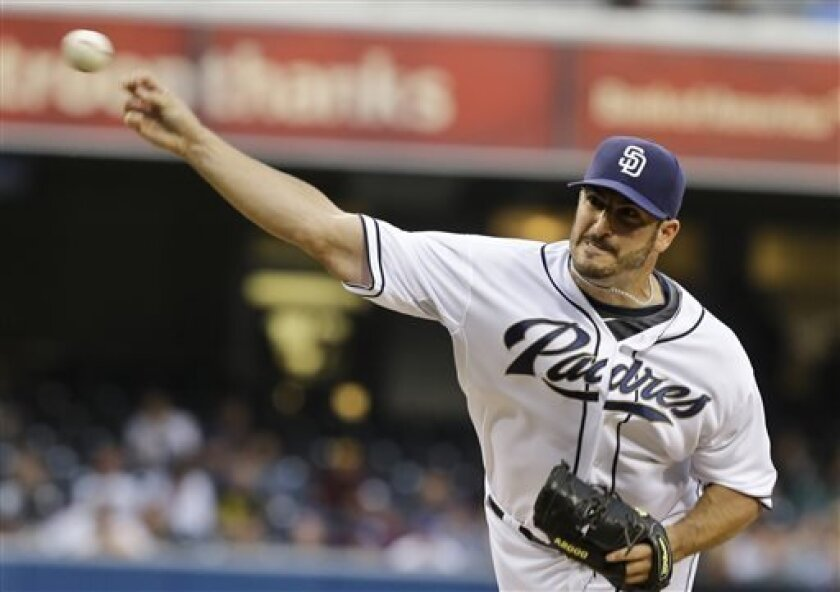 San Diego Padres starting pitcher Jason Marquis throws a pitch in the first inning of a baseball game against the Toronto Blue Jays in San Diego, Friday, May 31, 2013. (AP Photo/Lenny Ignelzi)