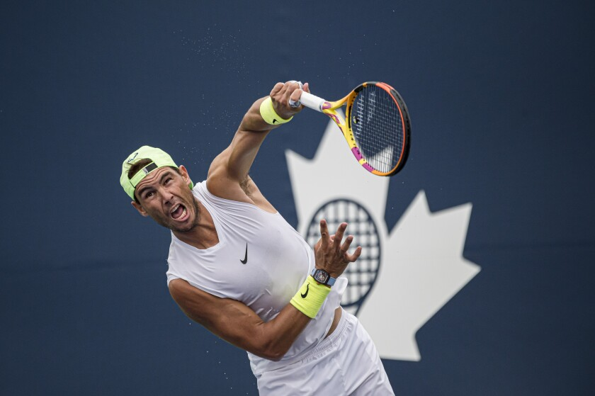 Spain's Rafael Nadal practices during at the men's National Bank Open tennis tournament, in Toronto on Tuesday, Aug., 10, 2021. (Christopher Katsarov/The Canadian Press via AP)