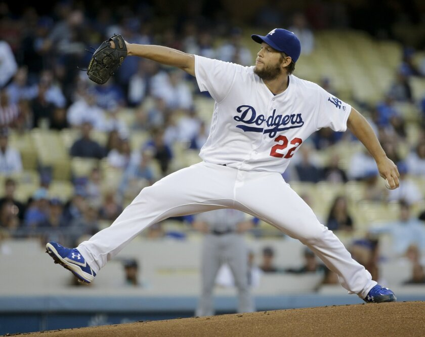 FILE - In this May 12, 2016, file photo, Los Angeles Dodgers pitcher Clayton Kershaw throws to a New York Mets batter during a baseball game in Los Angeles. Kershaw took a big step toward a return by throwing two solid innings during a simulated game Tuesday, Aug. 30, at Dodger Stadium. The three-t