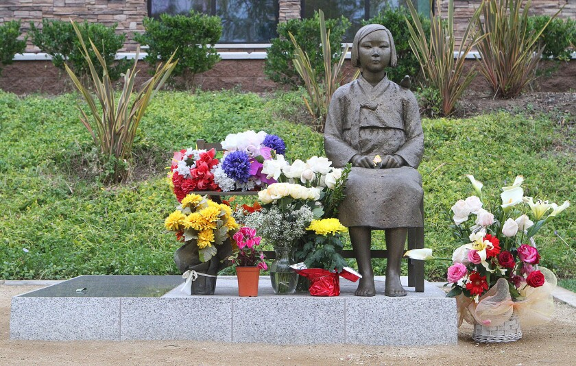 The comfort woman statue in Glendale's Central Park is a memorial to women from Korea and other countries who were forced into sex slavery by Japanese soldiers during War War II.