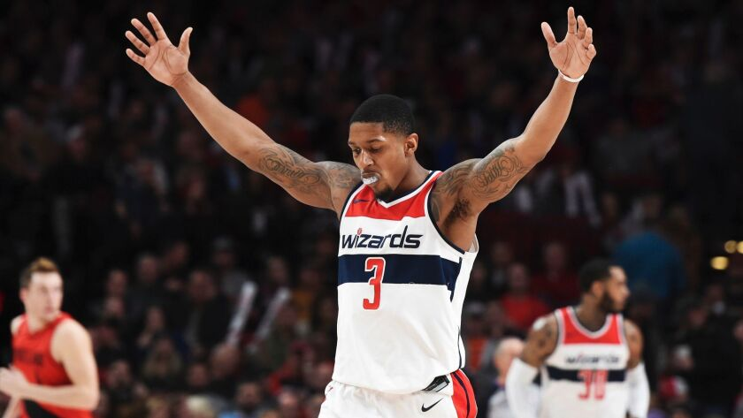 Washington Wizards guard Bradley Beal reacts after hitting a shot against the Portland Trail Blazers on Tuesday. The team plays the Clippers on Saturday night.