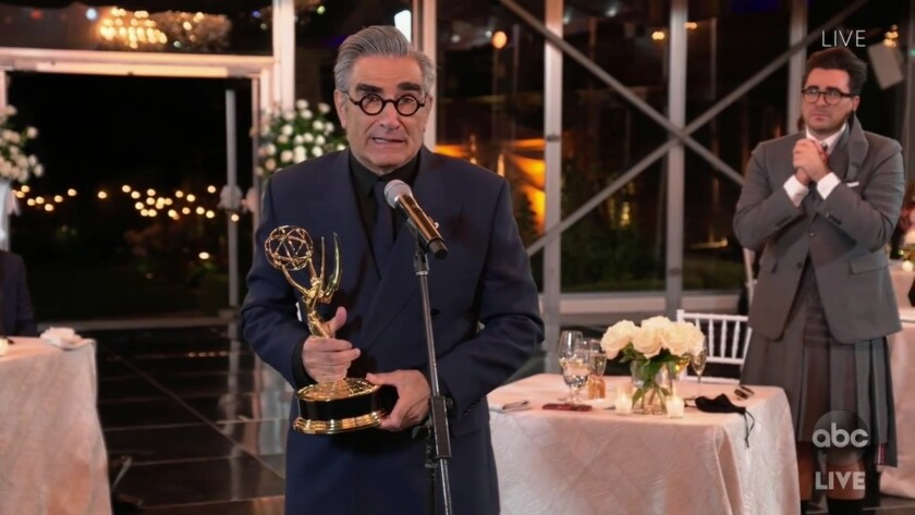 Winner Eugene Levy pictured in a screen grab from the telecast of the 72nd annual Emmy Awards