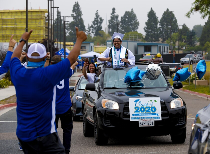 Sweetwater Union High School District held a parade of graduates in cars for 13 schools