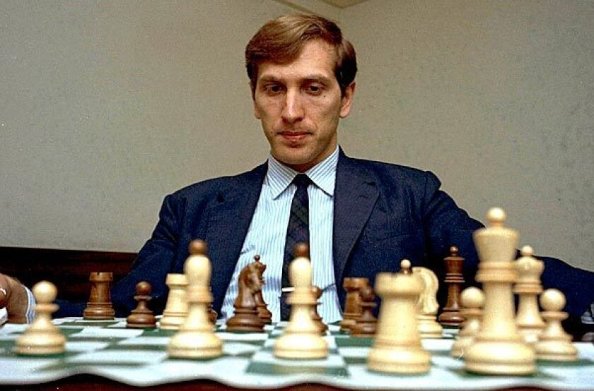 This photo was taken a year before Fischer would dethrone the Russian world champion, becoming, for a time, an American Cold War hero.