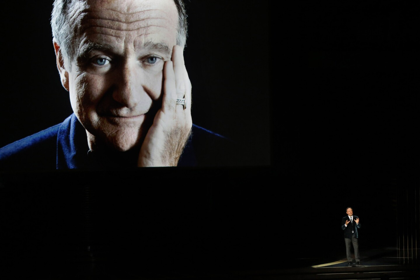 Comedian Billy Crystal pays tribute to the late Robin Williams onstage during the 66th Annual Primetime Emmy Awards at Nokia Theatre L.A. LIVE.