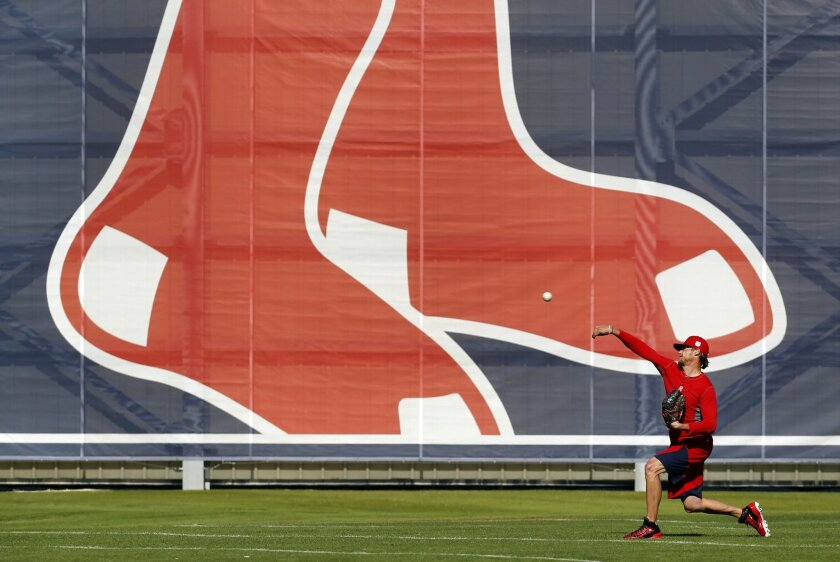 Boston Red Sox pitcher Clay Buchholz throws a pitch during a spring training baseball practice in Fort Myers, Fla., Thursday, Feb. 18, 2016. Red Sox pitchers and catchers hold their first official workout on Friday. (AP Photo/Patrick Semansky)