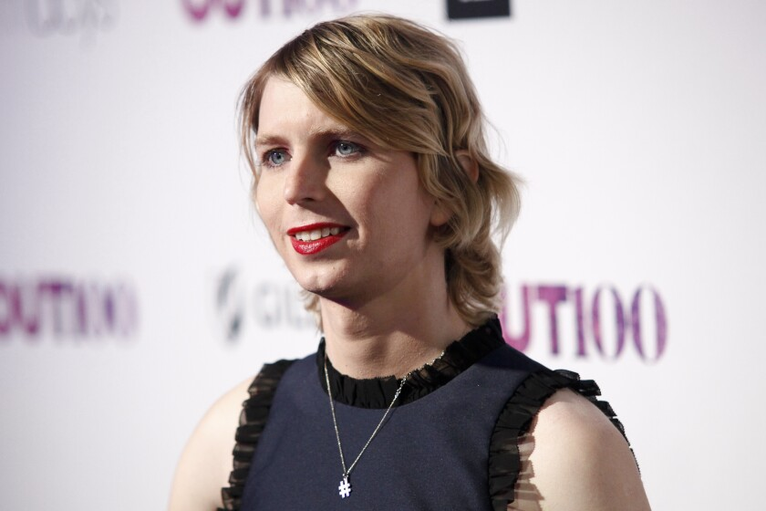 FILE - In this Nov. 9, 2017, file photo, Chelsea Manning attends the 22nd Annual OUT100 Celebration Gala at the Altman Building in New York. Former intelligence analyst Manning is again asking a judge to let her out of jail. Her lawyers filed a motion seeking her release Wednesday, Feb. 19, 2020, in federal court in Alexandria, Va. The lawyers say Manning has shown during 11 months of incarceration that she can't be coerced into testifying. (Photo by Andy Kropa/Invision/AP, File)