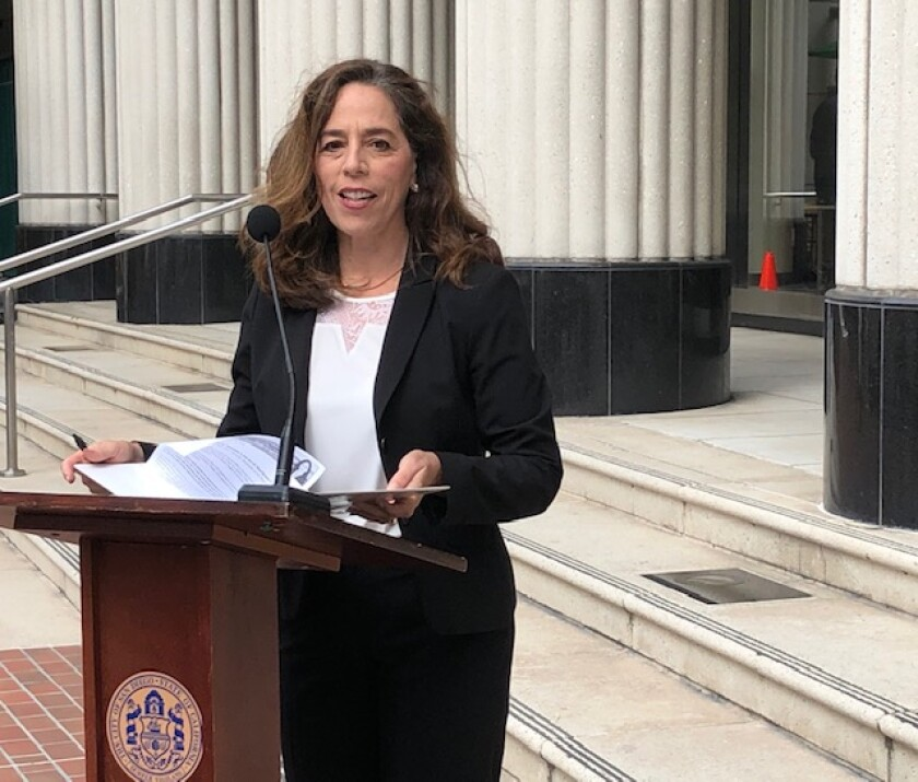 San Diego City Attorney Mara Elliott, in front of the Hall of Justice downtown.