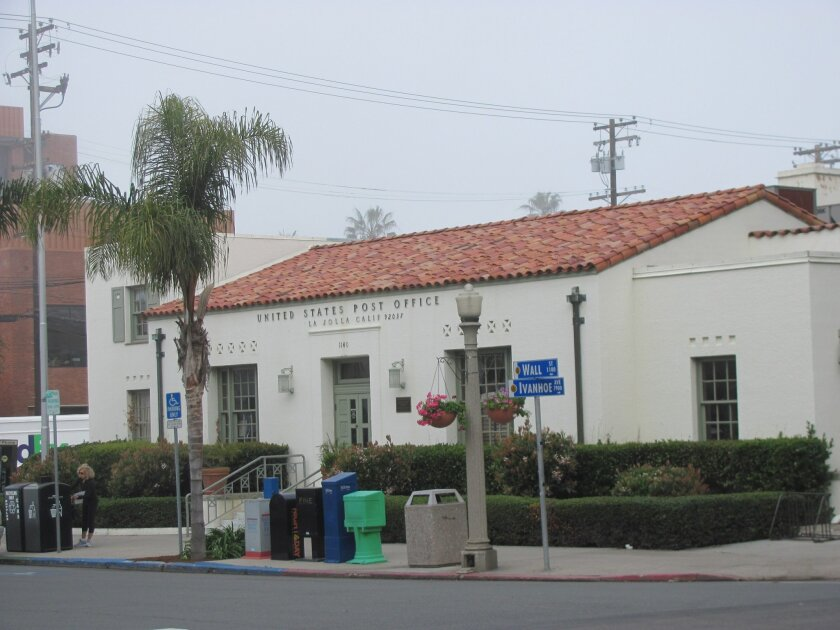 La Jolla's Wall Street Post Office: still standing, still stamping. The city will decide whether to follow the lead the lead of federal and state officials April 25 by granting the WPA-era building historic status. Susan DeMaggio photos