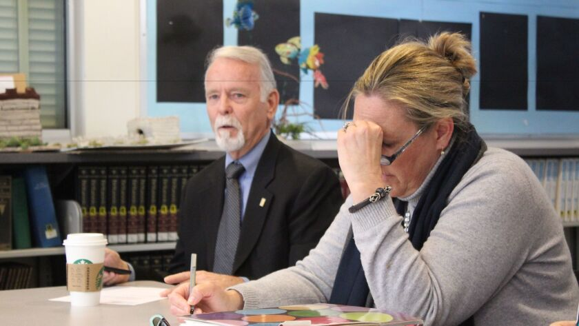 SDUSD trustee Mike McQuary speaks about the budget at the La Jolla Cluster Association meeting, Jan. 19.
