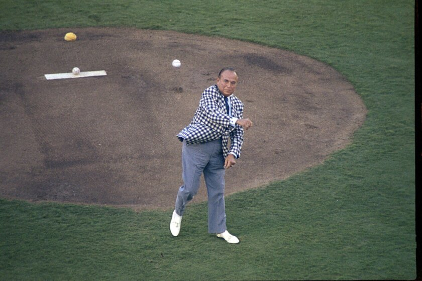 Padres owner Ray Kroc throws ceremonial first pitch at 49th All-Star baseball game on July 11, 1978, at San Diego Stadium.