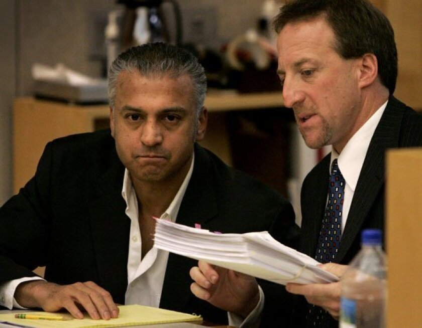 """Actor Shelley Malil, left, during a preliminary hearing in 2009 in Vista Superior Court. His trial began Monday for the attempted murder on Aug. 10, 2008, of his former girlfriend, Kendra Beebe. Malil, who  played the character  Haziz in the movie """"The 40 Year Old Virgin,"""" is accused of stabbing Be"""