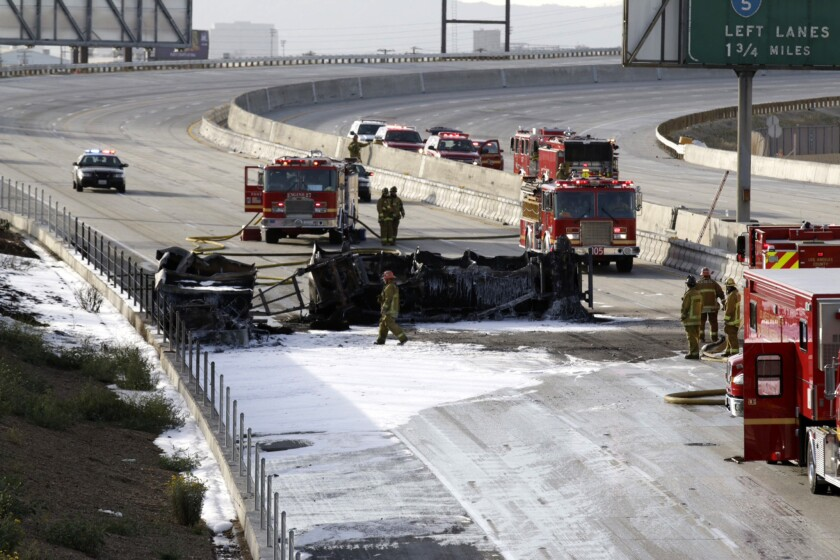The 710 Freeway at the 60 in the East L.A. Interchange ranks among the top stretches of freeways with truck crashes per mile.