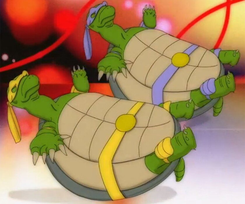 """A screengrab from a Fox network Animation Domination cartoon depicting """"scientifically accurate Ninja Turtles."""""""