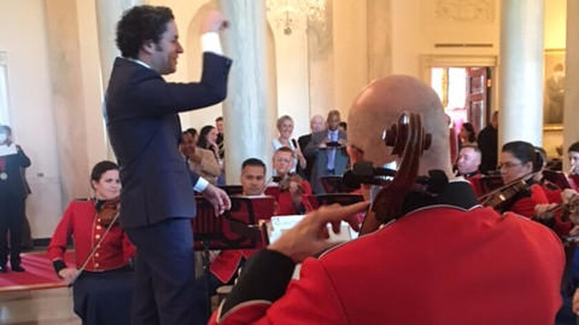 Gustavo Dudamel conducting the Marine Chamber Orchestra at the White House on Thursday.