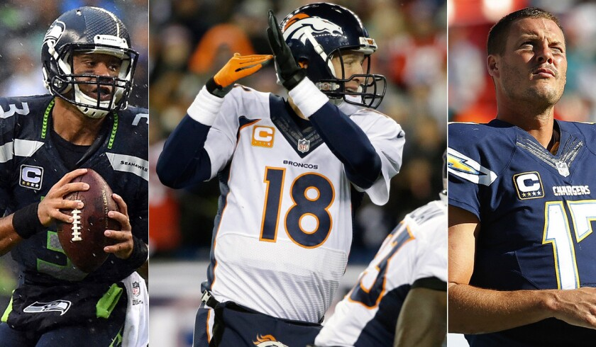 While Russell Wilson, left, and the Seahawks escaped with a victory over the winless Raiders, Peyton Manning (18) and the Broncos as well as Philip Rivers and the Chargers were soundly beaten Sunday.