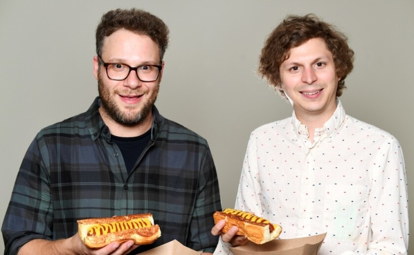 "Seth Rogen and Michael Cera, who take hot dog humor to uncharted movie territory in ""Sausage Party."""