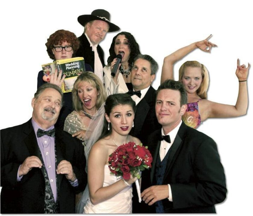 "Cast members of the dinner-theater musical ""Once Upon a Wedding."""