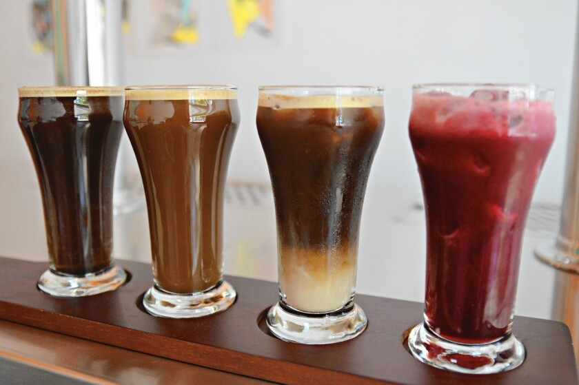 Contra Coffee sells a variety of nitrogen-infused drinks.