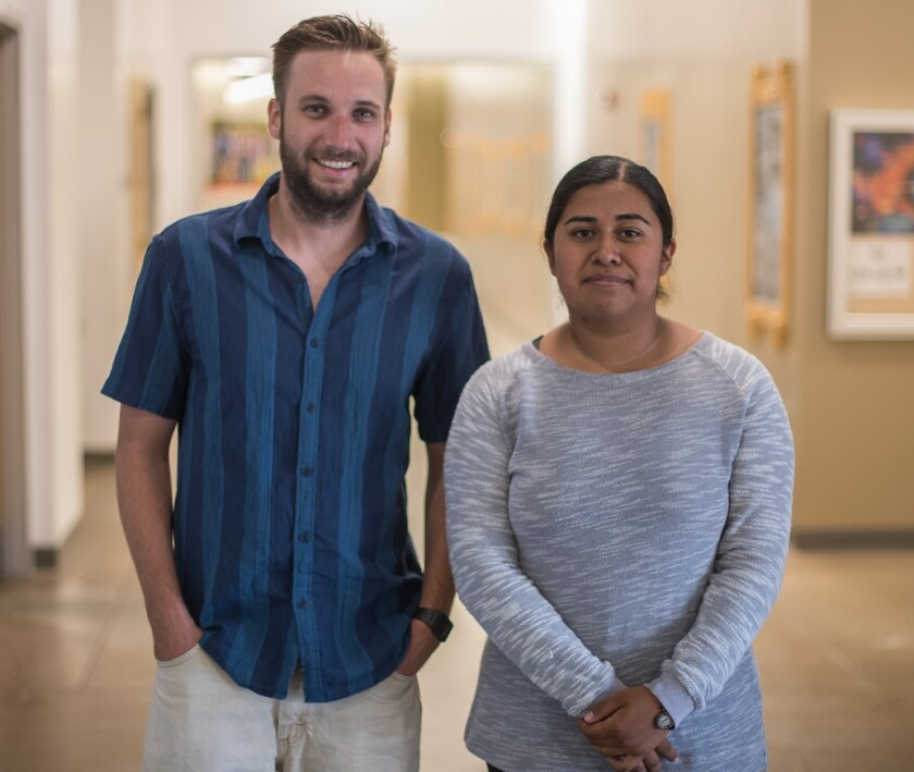 Palomar College students Quin Smith, left, and Diana Perez were chosen to attend the Advanced Technological Education conference. Not pictured is the third delegate, Isaac Hernandez.