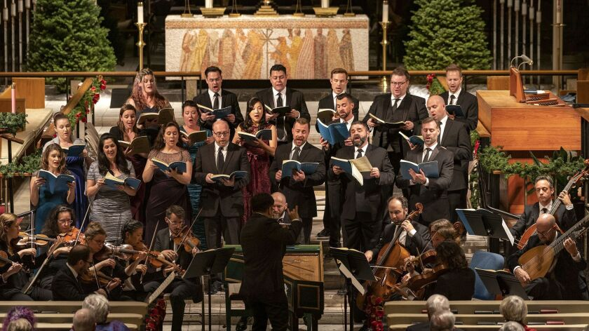SAN DIEGO, DEC 14, 2018: The Bach Collegium San Diego, lead by Artistic Director Ruben Valenzuela, p