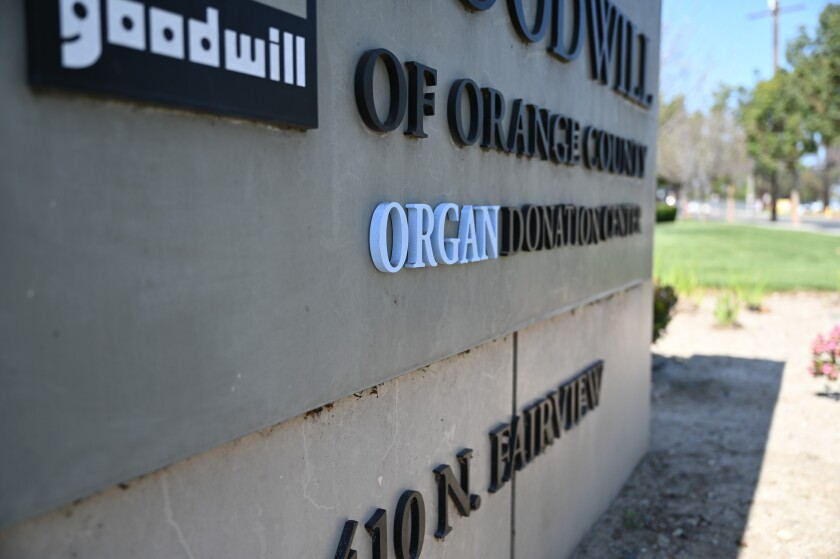 A sign for Goodwill of Orange County's Organ Donation Center.