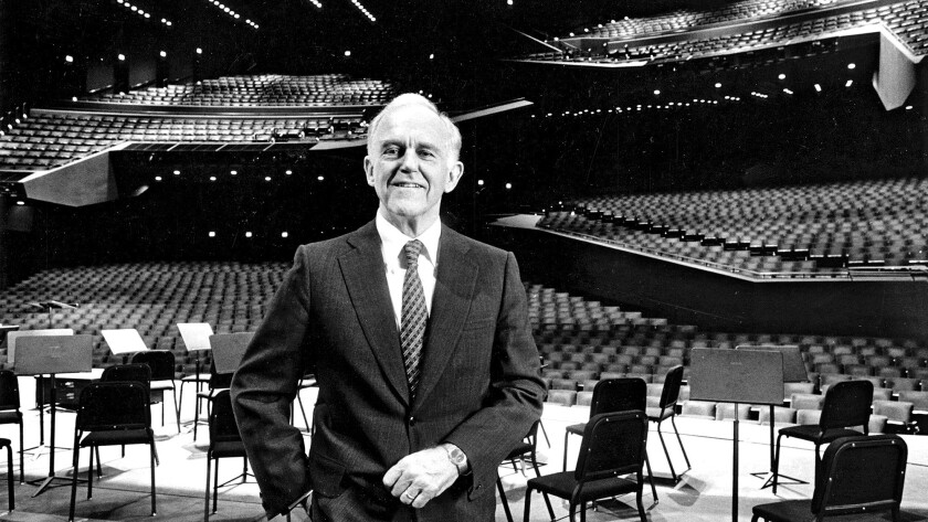 Henry Segerstrom on stage at the Orange County Performing Arts Center in 1988.