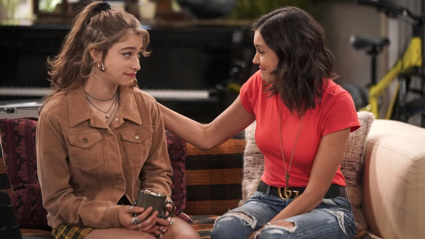"""Odessa Adlon, left, and Nina Dobrev star in a new episode of the comedy """"Fam"""" on CBS."""