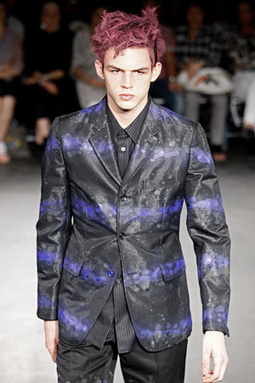 L.A. artist Brett Westfall painted this black jacket with mottled color bands.