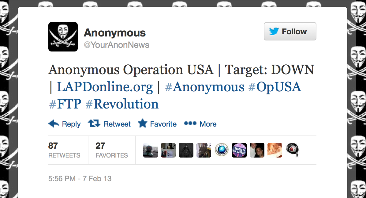 Anonymous says it hacked LAPD website but police deny it