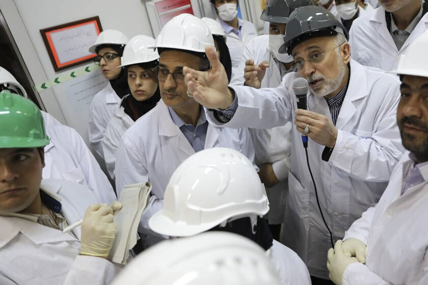 In this photo released on Monday, Nov. 4, 2019 by the Atomic Energy Organization of Iran, Ali Akbar Salehi, head of the organization, speaks with media while visiting Natanz enrichment facility, in central Iran. Iran on Monday broke further away from its collapsing 2015 nuclear deal with world powers by doubling the number of advanced centrifuges it operates, linking the decision to U.S. President Donald Trump's withdrawal from the agreement over a year ago. (Atomic Energy Organization of Iran via AP)