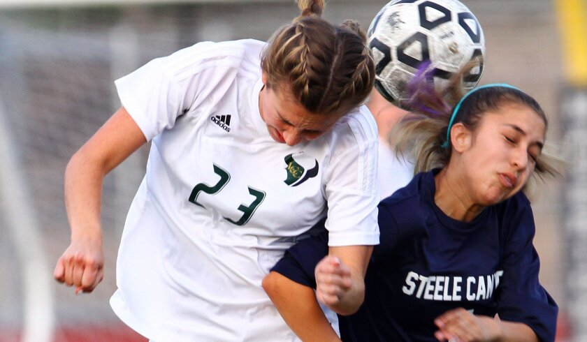 Steele Canyon's Nicole Arce (right) battles for control with Karlee Davey of La Costa Canyon, which has won 11 games in a row and is unbeaten in its last 17.