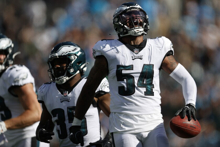 Philadelphia Eagles linebacker Shaun Bradley celebrates after recovering a blocked punt against the Carolina Panthers during the second half of an NFL football game Sunday, Oct. 10, 2021, in Charlotte, N.C. (AP Photo/Nell Redmond)