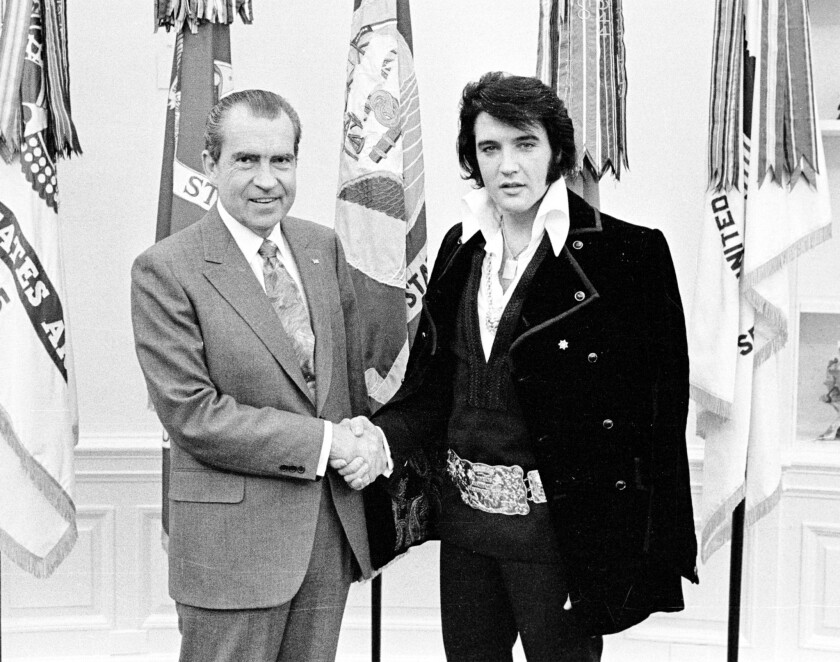 """President Nixon's meeting with Elvis Presley on Dec. 21, 1970, at the White House is the inspiration for the film """"Elvis & Nixon."""""""