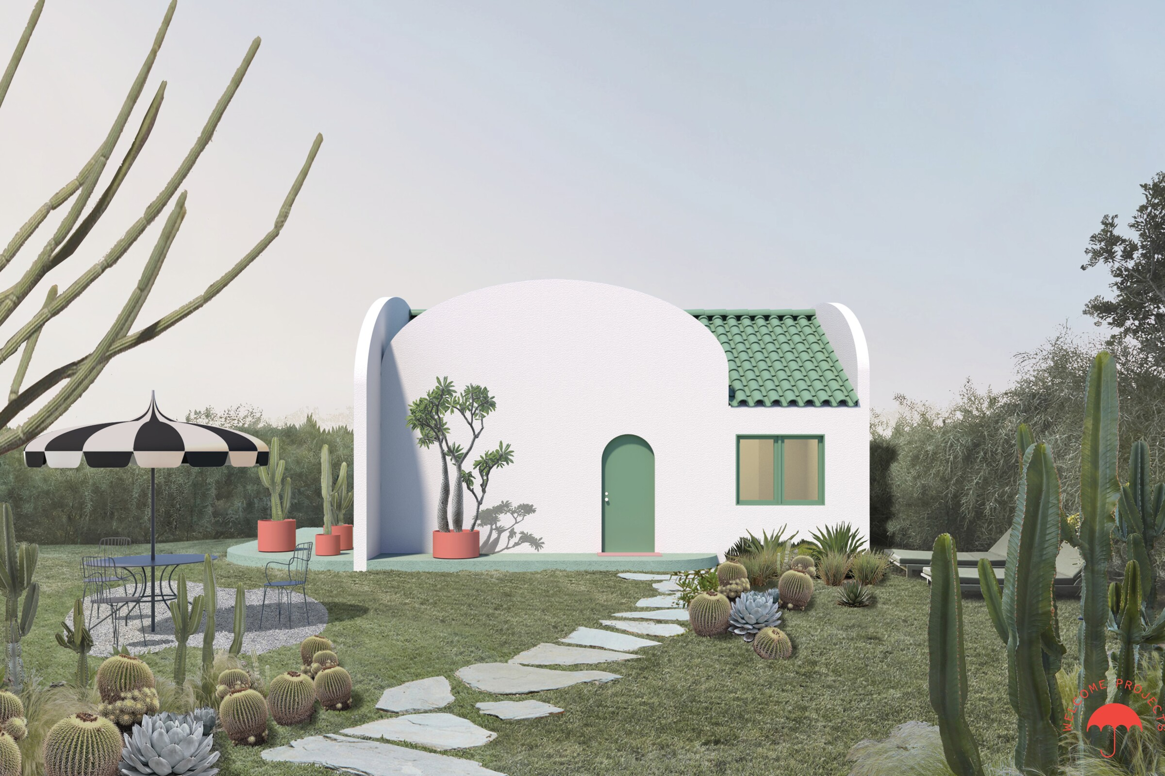 An image of a small white house with a green tile roof and desert landscaping.