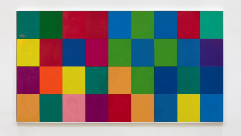 """""""An All Colored Cast"""" by Hank Willis Thomas, 2019. UV print on retroreflective vinyl, mounted on Dibond. Photographed without flash."""