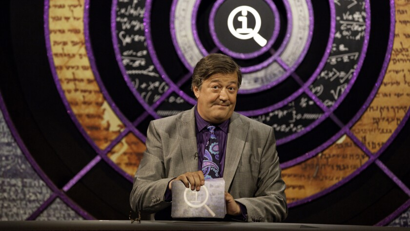 "Stephen Fry hosts the imported quiz show ""QI"" on BBC America."