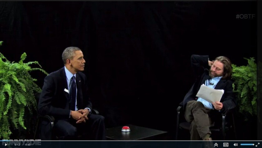 """President Obama appears on """"Between Two Ferns With Zach Galifianakis"""" on Funnyordie.com."""