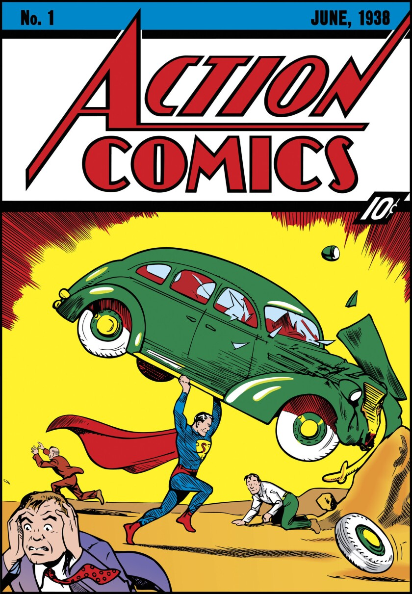Action Comics cover, No. 1, published June 1938. A pristine copy of the comic sold at auction for $3.2 million on Sunday.