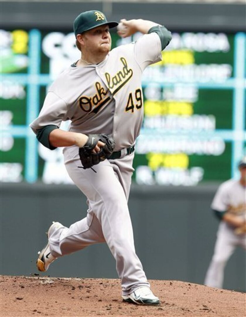 Oakland Athletics' Brett Anderson pitches against the Minnesota Twins during the first inning of an MLB baseball game on Friday, April 8, 2011, in Minneapolis, Minn. (AP Photo/Genevieve Ross)
